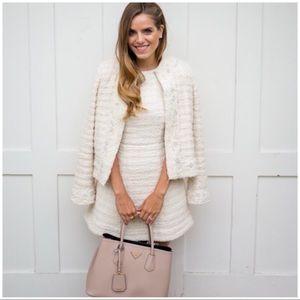 Alice + Olivia Cream Haven Nila Tweed Dress 8 $485